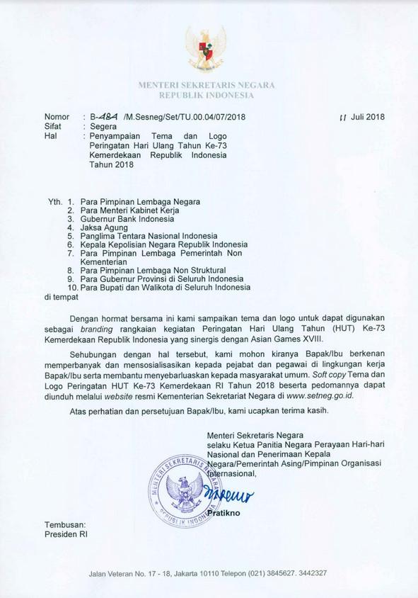 Surat Edaran Mensesneg tentang Penyampaian Tema dan Logo Peringatan HUT ke 73 Kemerdekaan RI
