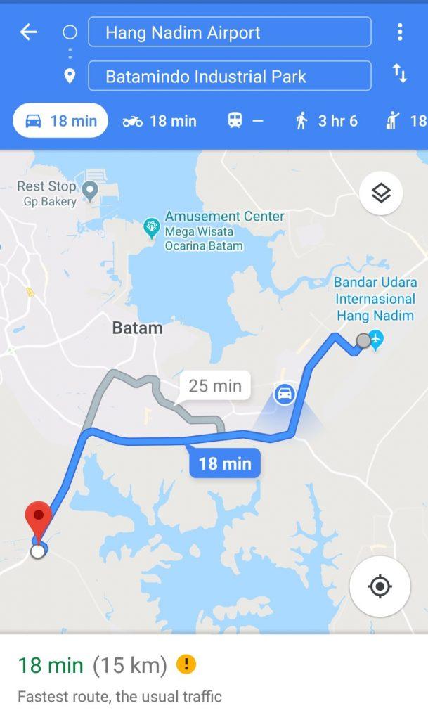 Jarak Bandara Hang Nadim - Batamindo